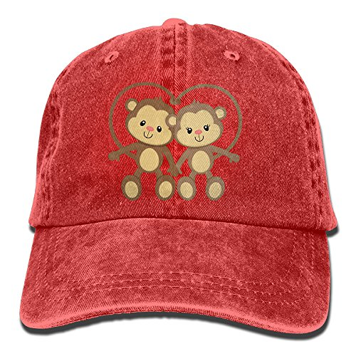 Red Monkey Jeans (Dizkm The Monkeys Adult Cotton Washed Denim Visor Caps Adjustable)