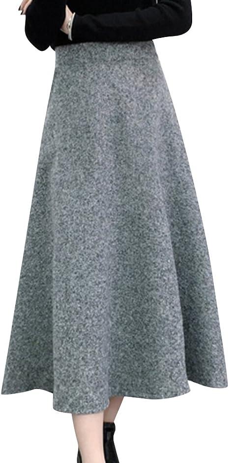 Falda Mujer Plisada De Lana Falsa De Color Sólido A Línea Faldas ...