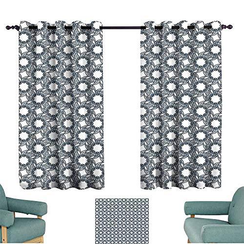SONGDAYONE Geometric Modern Curtain Floral Patterned Vintage Inspired Swirled Plants Pattern Spring Season Blossom Reduce Light Indigo White (2 Panels,W72 xL63)