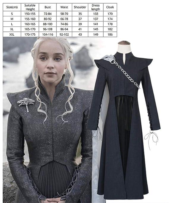 WSJDE Juego de Tronos Daenerys Targaryen Disfraz Negro Cosplay ...