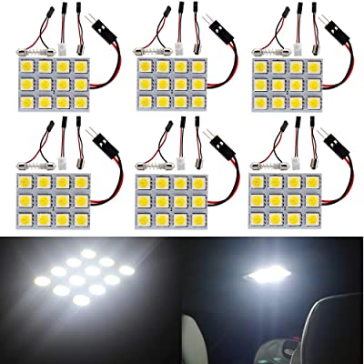 Everbright 6-Pack White Led Panel Dome Light Lamp, 5050 12SMD Led Interior Car Lights Auto Led Dome Lights Interior with T10 /BA9S/ Festoon Adapters, DC-12V: Automotive
