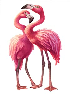 MHreat Metal Home Decor Sign 2 Pink Flamingo Love Together Wall Tin Art 12x16inches