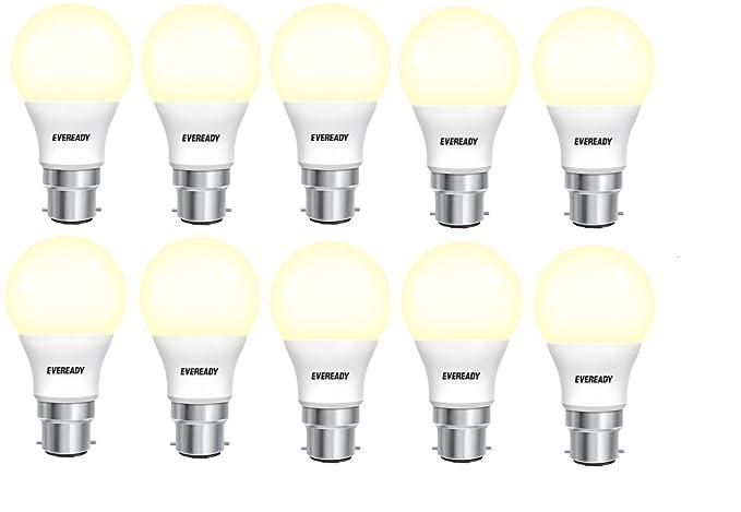 Eveready 5WPK10GY Base B22 5-Watt LED Bulb (Pack of 10, Warm White/Golden Yellow) LED Bulbs at amazon