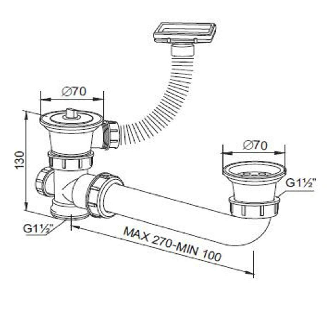 Doppel Gr/ö/ßen verstelbar Sifon f/ü Doppelsp/üle Ablaufgarnitur horizontal /Überlauf
