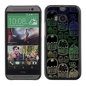 Be Good Phone Accessory // Dura Cáscara cubierta Protectora Caso Carcasa Funda de Protección para HTC One M8 // Cupcake Muffin Wallpaper Sweets Pattern