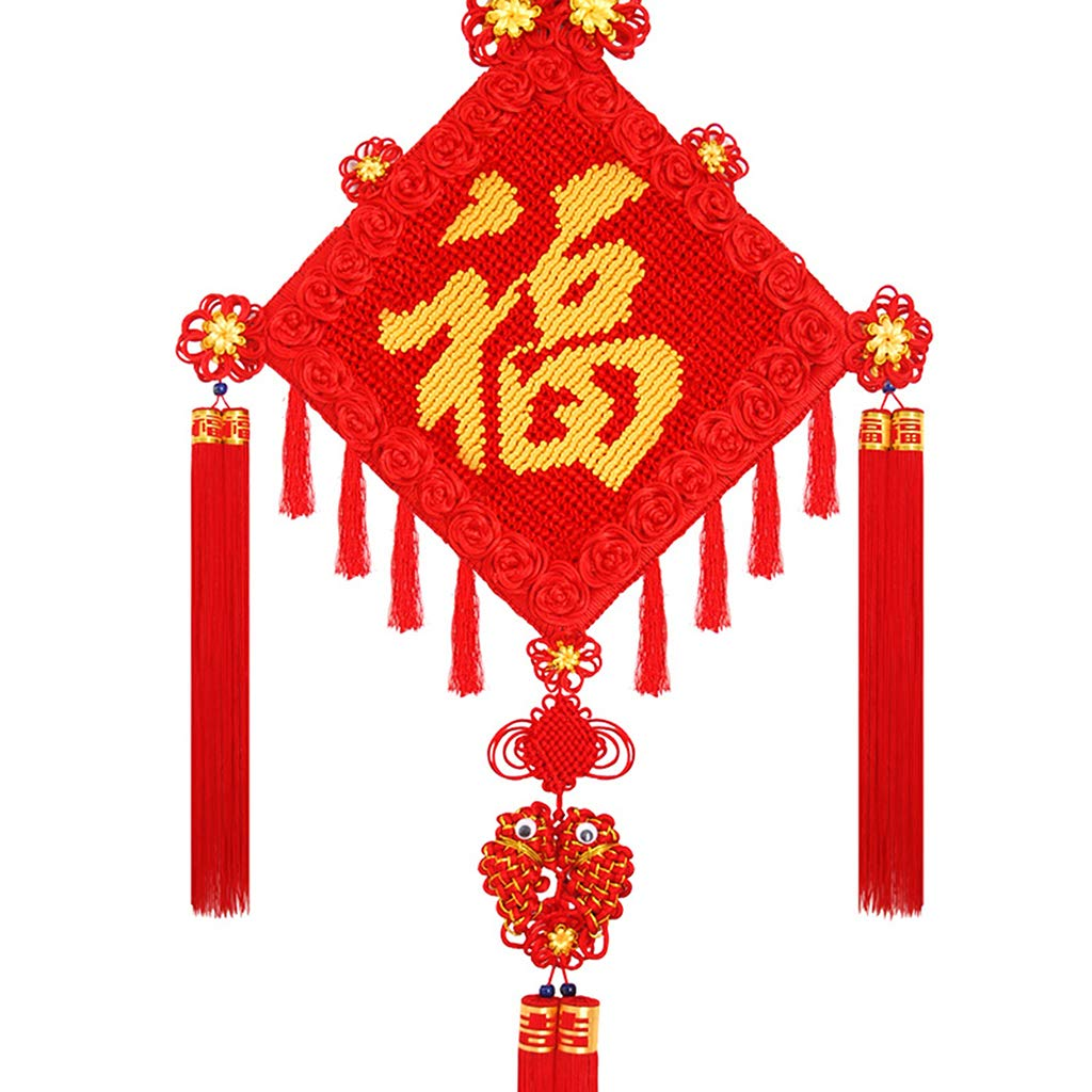 CFJKN Feng Shui Chinese Knot, Chinese New Year Decoration Fu Spring Festival Home Decor Traditional Ornamental Knot Tassel Red Handcraft Knitted Hanging,red_145x58