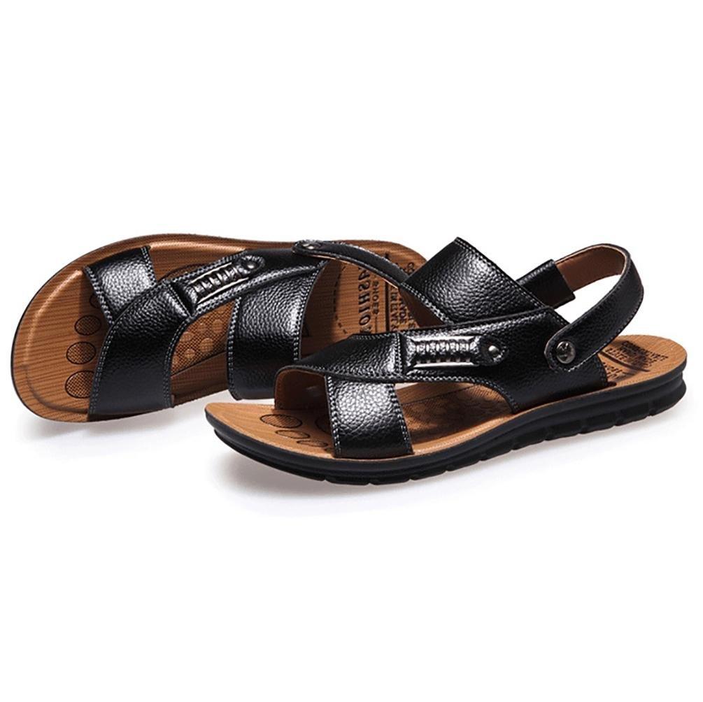 SHANGXIAN Sandalias de los hombres de verano de cuero talón plano Casual otros negro marrón otros , khaki , 40