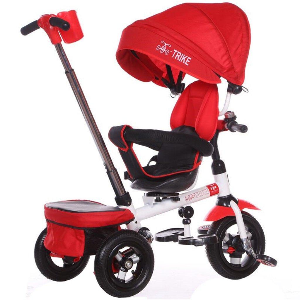 KANGR-子ども用自転車 多機能4-in-1折りたたみ式子供用三輪車キッドトロリープッシュハンドルステーラー自転車、アンチUV日よけ  1-3-6歳の少年少女と赤ちゃんのおもちゃ ロータリー席 インフレータブル(または非)ソリッドゴム3ホイール 赤 ( 色 : B型 bがた ) B07BTRT15D B型 bがた B型 bがた