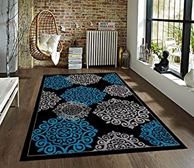 776 Black Brown Abstract Area Rug Modern Carpet