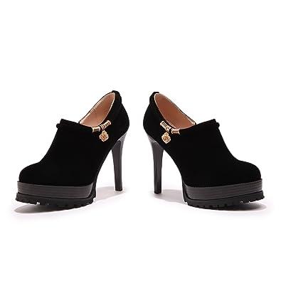 QINamp;X Talon Bloc Femmes Talons Chaussures Occasionnels Occasionnels Occasionnels à Tête 267ce5