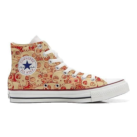 Converse All Star personalisierte Schuhe (Handwerk Produkt) Orange Skull  33 EU