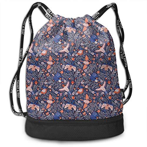 Girls & Boys Drawstring Sack Theft Proof Lightweight Beam Backpack, Traveling Shoulder Bags - Swedish Folk Art Birds Waterproof Backpack Soccer Basketball Bag -