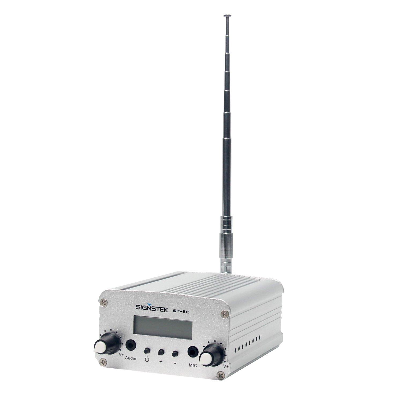 5C 5W FM Transmitter Mini Radio Stereo Station PLL LCD & Antenna Fashion Silver | eBay