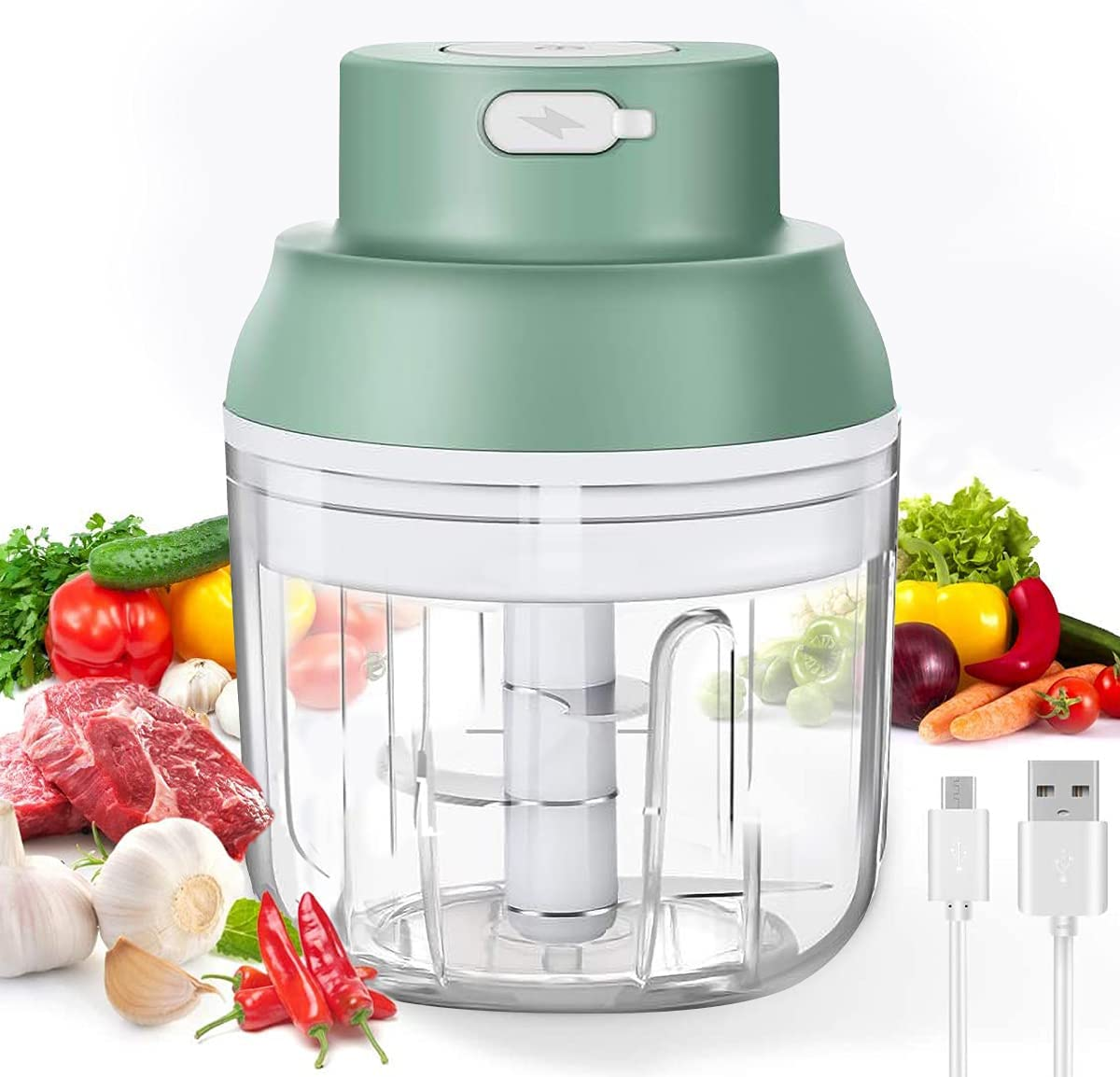 SUPYINI Electric Mini Garlic Chopper 2 Cups Wireless Portable Rechargeable Food Blender Mincer Masher for Chop Onion Ginger Vegetable Pepper Spice Meat, Baby Food, BPA Free(100ml+250ml)