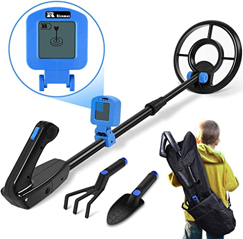 Metal Detector for Kids – Kid Metal Detector Junior 7.4 Inch Waterproof Search Coil Junior Metal Detector LCD 24 Inch to 35 Inch Adjustable Stem Buzzer Vibration Sound 2 Pouds Lightweight Easy to Use
