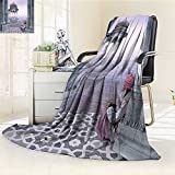 AmaPark Digital Printing Blanket India Man with Turban near Ganges River in the Mist Cultural Print Grey Mauve Summer Quilt Comforter