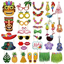 Meetory 36Pcs Hawaiian Photo Booth Props Kit, Colorful Photo Props Sticks, Selfie Props Celebration for Hawaii Seaside, Summer Pool Party, Luau Beach Vacation Dress-up Costume Accessories Decoration