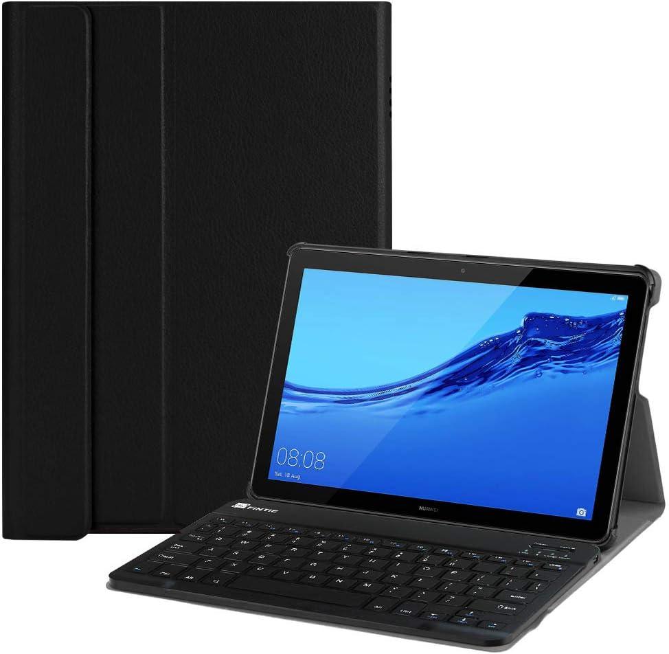 Fintie Étui avec clavier pour Huawei Mediapad T5 10 – SlimShell léger avec support et clavier Bluetooth sans fil magnétique détachable pour tablette ...