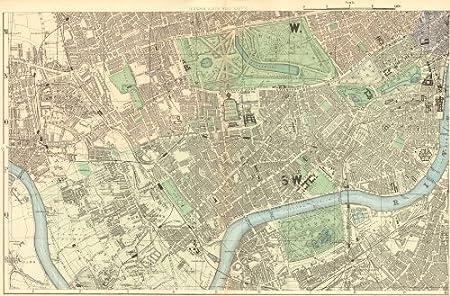 South Kensington London Map.London South West Kensington Chelsea Fulham Battersea Town Plan