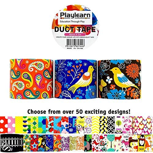 Design Duct Tape 48mm x 16 Feet - Kids Fun Extra Strong Printed Arts & Crafts Multi Pack - by Playlearn (Paisley) (Designer Duct Tape Pack)