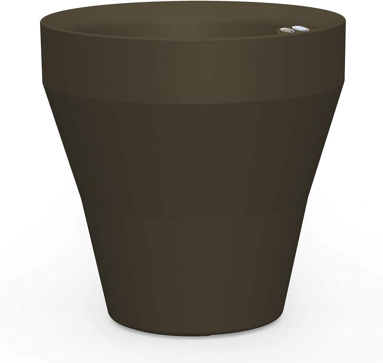Crescent Garden Rim TruDrop Planter, Self-Watering Plant Pot, 18-Inch (Old Bronze)