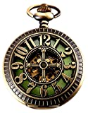 Vintage Luck Number Dual Display Luminous Dail Bronze Mechanical Pocket Watch For Mens