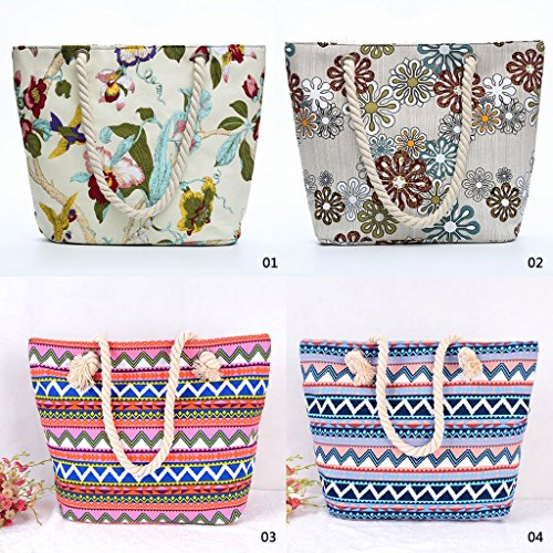 1 Beach Large Shopping Ladies New Tote Shoulder JAGENIE 1 Capacity Summer Bag Canvas Women ta0nq7