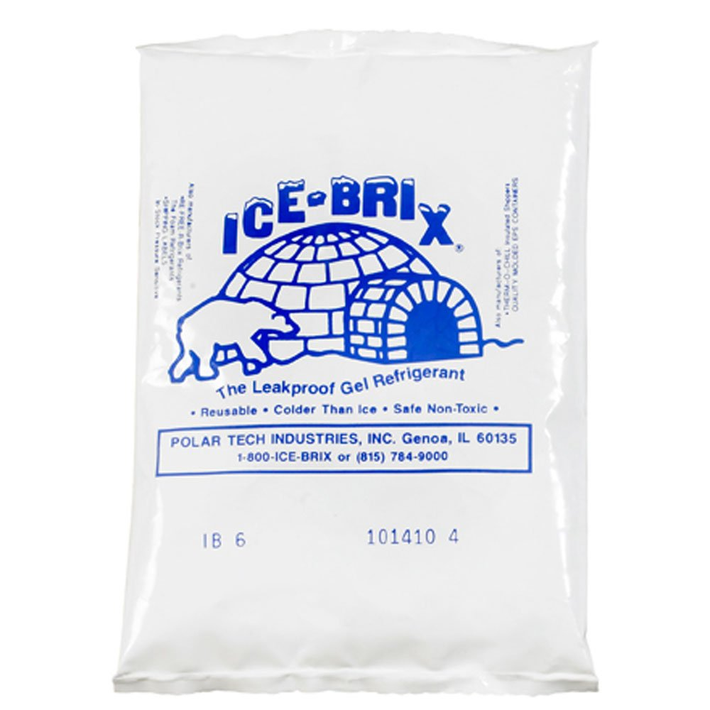 "Ice-Brix IB6BPD Cold Pack, 5-1/2"" Length x 4"" Width x 3/4"" Height, 6 oz, White (Case of 48)"