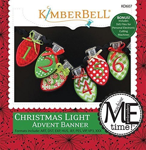 Kimberbell Christmas Light Advent Banner Machine Embroidery Design CD KD607