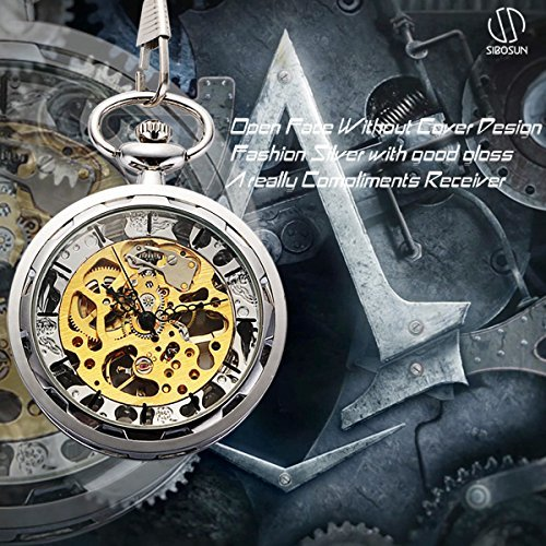 SIBOSUN Antique Open Face Silver Pocket Watch Hand Wind Skeleton Mechanical Analog Unisex