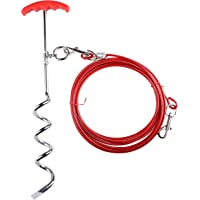 CBB PET Dog Stake and Tie Out Cables for Dogs, Heavy Duty Chome Plated Anti Rust Dog Chains for Yards and Camping (16…