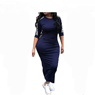 6686286234 Image Unavailable. Image not available for. Color: Baqijian Women Plus Size  Dress Summer Dresses Striped Half Sleeve Street Wear Beach Robe Sexy Midi