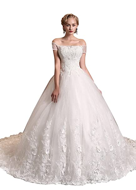 Adasbridal-vestidos de novia de Magnifico Tul de escote fuera del hombro