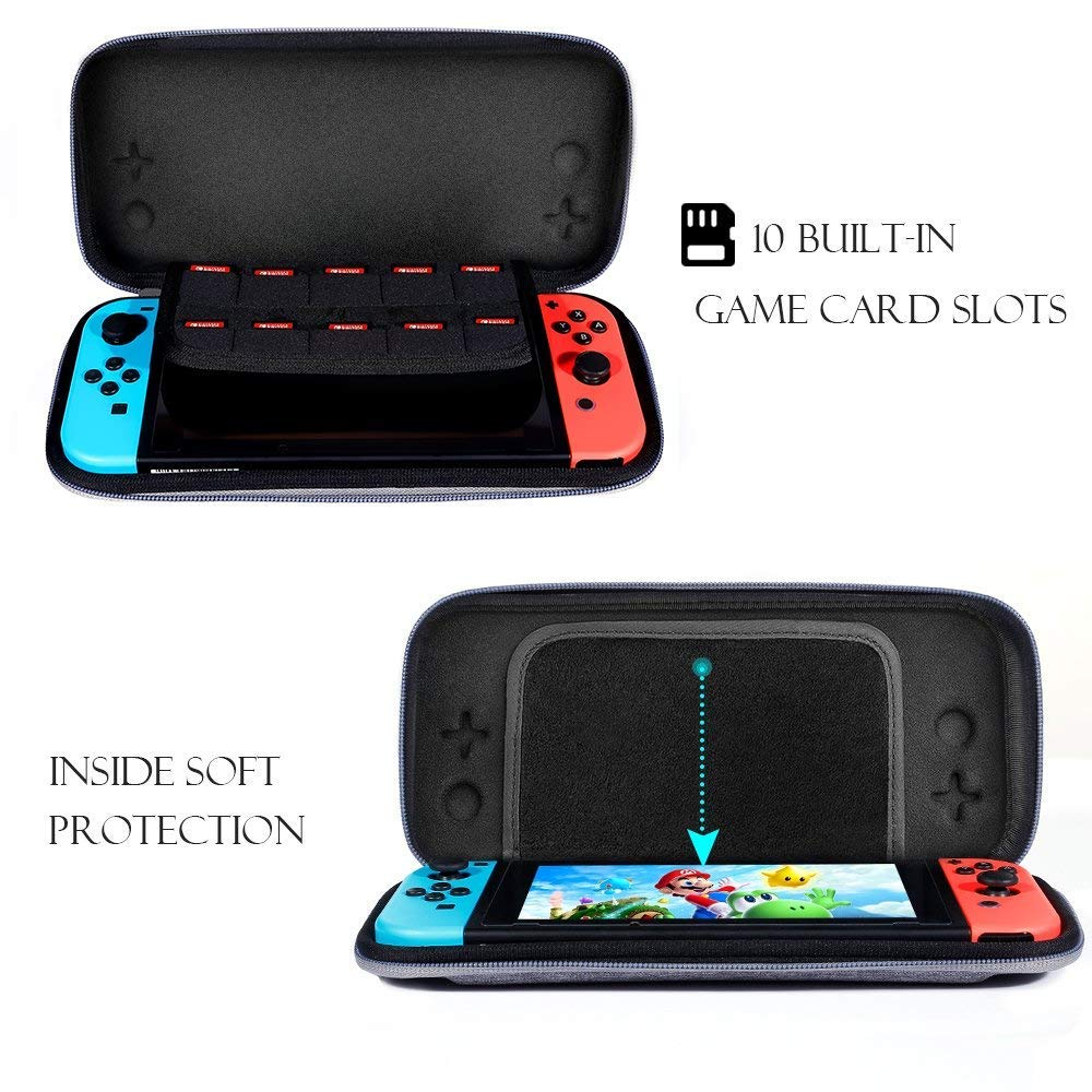 Nintendo Switch Slim Case and Tempered Glass Screen Protector Protective Travel Carrying Case with