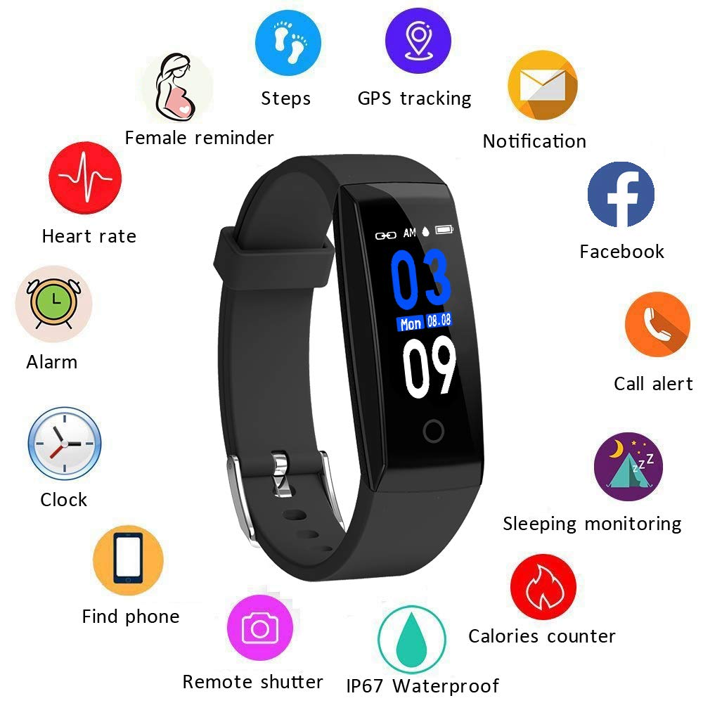 DoSmarter Activity Tracker,Color Screen Heart Rate Monitor Pedometer Watch, Waterproof Fitness Health Tracker Smart Band with Step Calories Counter by DoSmarter (Image #2)