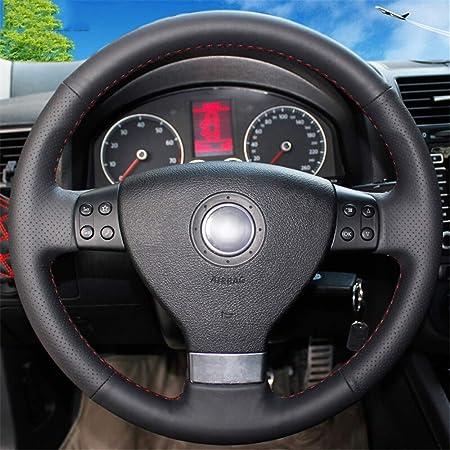 Luoerpi Schwarzes Echtes Leder Auto Lenkradbezug Für Volkswagen Golf 5 Mk5 Für Vw Passat B6 Mk5 Tiguan 2007 2011 Jetta 5 Sport Freizeit