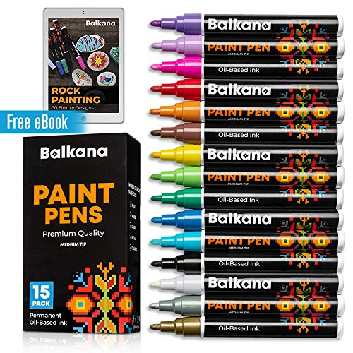Paint Pens - Rock Painting, Glass, Wood, Ceramic, Metal, Works on Most Surfaces - Set of 15 Premium Vibrant Medium Tip Oil Permanent Paint Markers, Water Resistant, Quick Dry - Art and Craft Supplies
