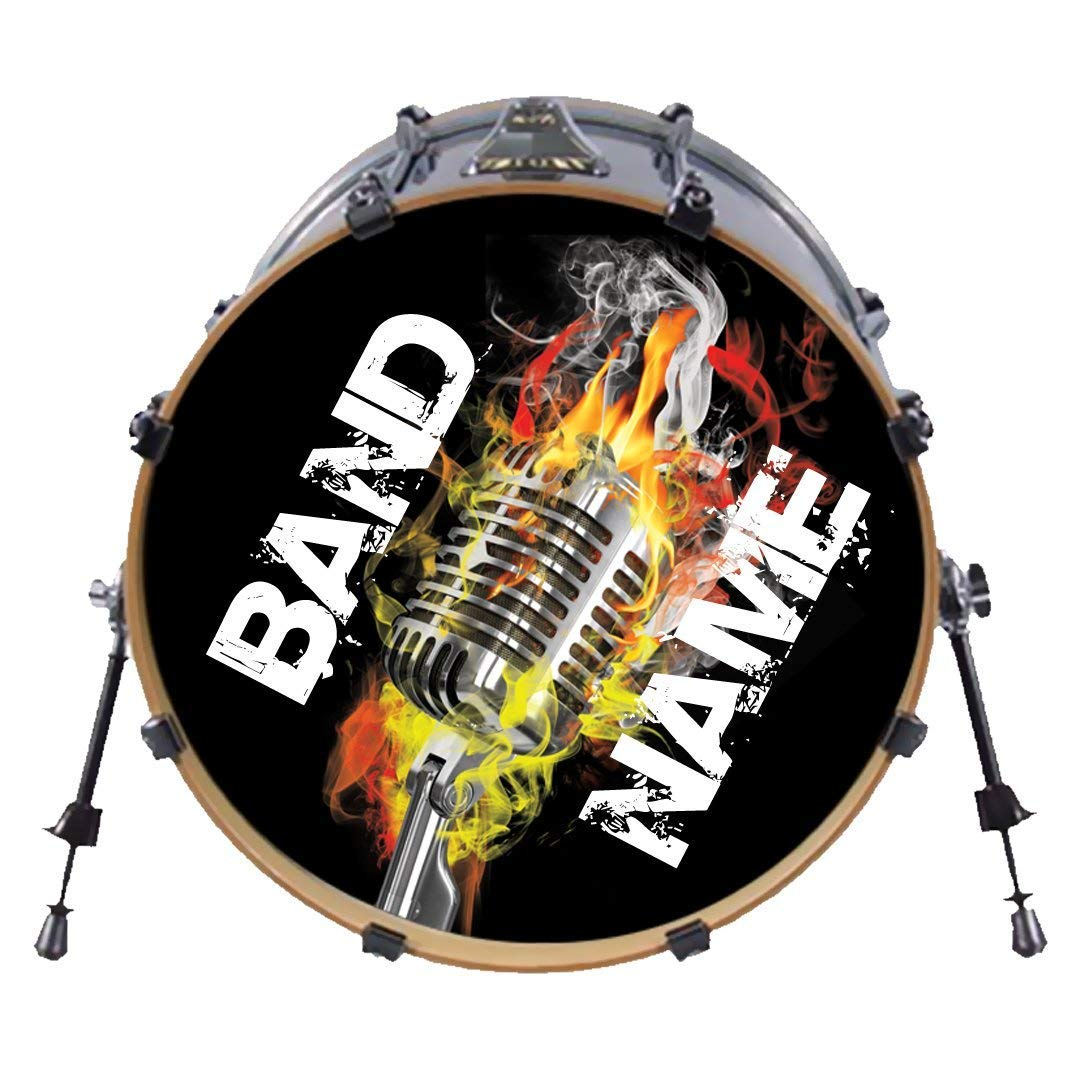 Amazon com custom bass drum head decal many sizes use our stock designs or send us yours personalized drum set sticker musicians band 22 musical