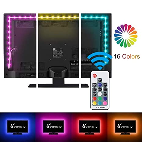 Vansky 2M LED TV Hintergrundbeleuchtung Für HDTV / Gaming PC LED Streifen  RGB Neon Akzent TV