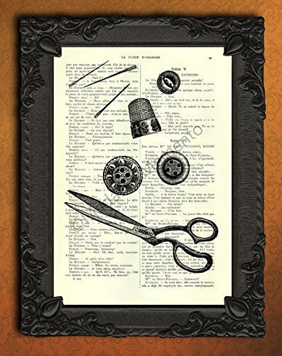Sewing Tools Dictionary Art, Scissors buttons needles thimble artwork, Sewing Room Decor, Craft Studio Wall Art Poster, Victorian Sewing Supplies by Madame Memento