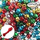 200PCS Jingle Bells,Small Bell Mini Bells Bulk with 25M Red Cords for Christmas, Party & Festival Decorations and Jewelry Making, 10 mm