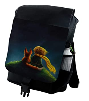 Lunarable Kids Backpack, Little Prince and Fox Cartoon, Durable All-Purpose Bag