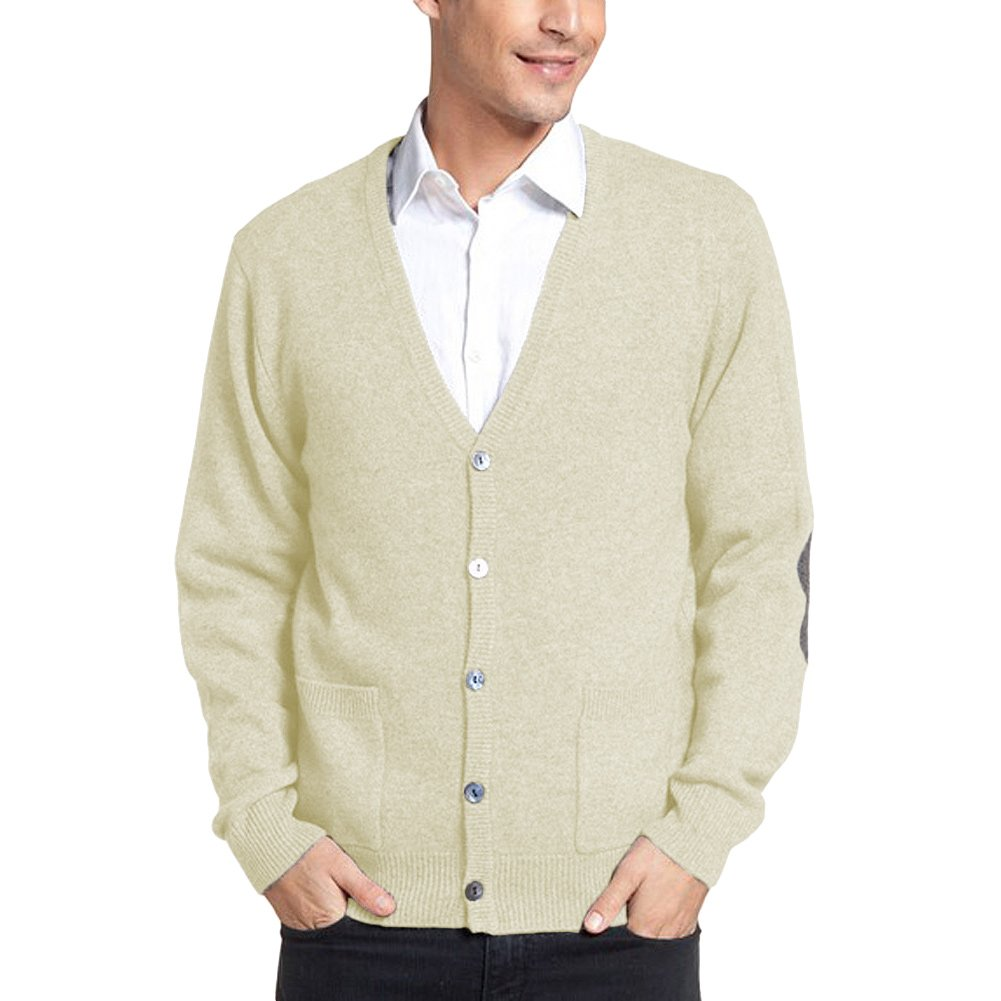Parisbonbon Men's 100% Cashmere V-Neck Cardigan Color Ivory Size XL by Parisbonbon