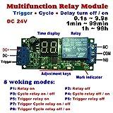 Qianson DC 5V 12V 24V Digital LED Display Infinite Cycle Delay Timer Switch ON/OFF Relay Module (DC 24V)
