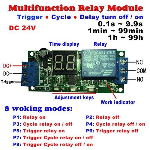 - Qianson DC 5V 12V 24V Digital LED Display Infinite Cycle Delay Timer Switch ON/OFF Relay Module (DC 24V)