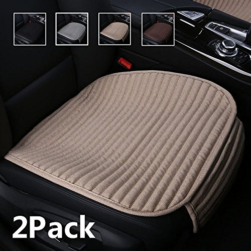 Suninbox Car Seat Covers Front Seats Only,2Pack Bottom Car Seat Pads Cushions for Automobiles,Buckwheat Hulls Universal Leather Car Seat Protector Ventilated Driver seat Cover(2PC Beige Front Seat)