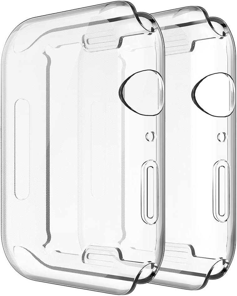 Simpeak Soft Screen Protector Bumper Case Compatible with Apple Watch 40mm Series 4 Series 5 Series 6 / SE, 2 Pack, Full Coverage Case Replacement for iWatch 40 mm, Clear+Clear
