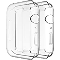 Simpeak Full Protector Case Compatible with iWatch 44mm,[2 Packs] [All-Around] Soft TPU Clear Touch Screen Protector Bumper Cover Replacement for 44mm iWatch Series 4,Series 5, Clear 2 Pack