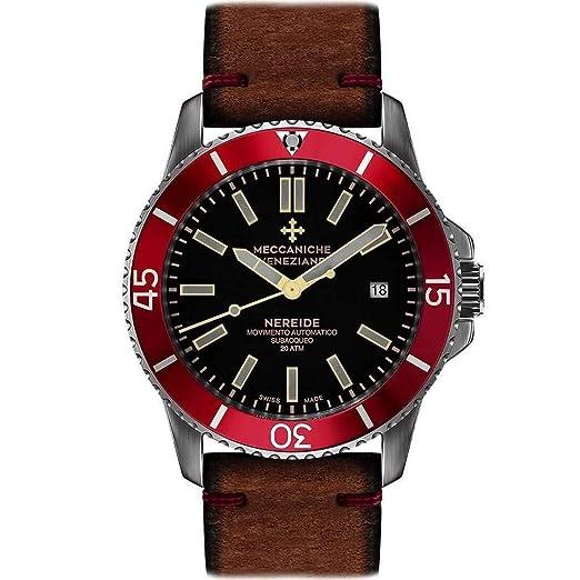 Meccaniche Veneziane - Reloj analógico de Movimiento automático para Hombre con Correa de Piel Nereide Rubino Sabbia: Amazon.es: Relojes