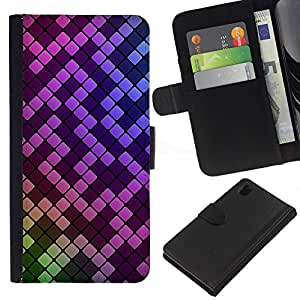 A-type (Motif rose pourpre Mosaïque) Colorida Impresión Funda Cuero Monedero Caja Bolsa Cubierta Caja Piel Card Slots Para Sony Xperia Z1 L39